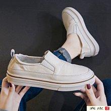 『真皮世家』歐洲站女2021春款真皮透氣一腳套小白鞋懶人休閒牛皮板鞋小眾女鞋