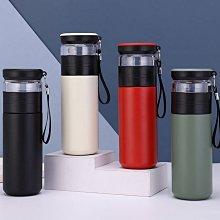 【用心的店】茶水分離泡茶杯304不鏽鋼保溫杯子車載雙層玻璃水杯500ml