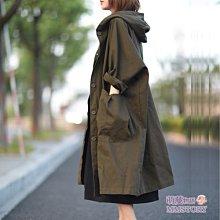 森系連帽大口袋寬鬆風衣外套  萌蔓物語 【KX3918】韓氣質女風衣