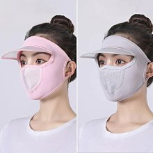【優選】【帽檐呼吸款】男女防曬防紫外線帶帽檐口罩冰絲透氣遮臉薄款面膜