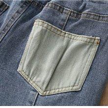 NO.108童衣著【牛仔長褲】新款 女童90~140cm 撞色貼袋彈性牛仔長褲 鬆緊腰圍牛仔長褲