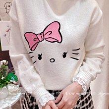 【莉莎小屋】正韓 秋冬新品(現貨-白色) 💝韓國連線代購-接蕾絲袖珍珠KT上衣👚👖TS210110