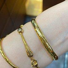 台K金手環,經典黃K金刻素面亮面手環,閃亮耀眼,現貨一個,新品上市優惠價,2.48錢重,16.3圍,最經典的款式最好搭配,適合堆疊方式配戴