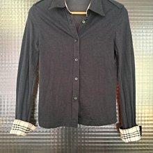 英國倫敦品牌 Burberry 黑色長袖格紋襯衫開襟上衣