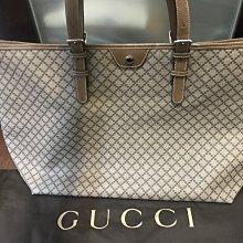 二手Gucci極新大款斜格紋PVC托特包(卡其棕)