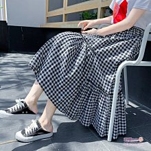 森女黑白傘襬A字高腰中長裙子 萌蔓物語【KX3093】韓氣質女中長裙
