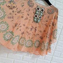 日本貴婦品牌Diagram 36號珊瑚紅手工繡珠蠶絲上衣