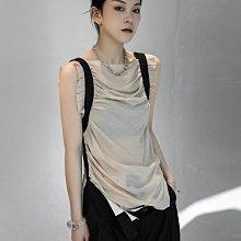 ►DR.DESIGN│DR32609-小眾 暗黑 肩帶設計 銅氨絲 手工捏皺 修身顯瘦氣質 無袖 背心 黑色/杏色