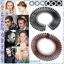 ☆POLLY媽☆降價↘歐美進口Stretch Combs黑、鐵灰紫、咖啡、寶藍、白、透明彈性塑料環狀髮梳式髮圈~8款