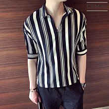 CPMAX 韓系帥氣七分袖寬鬆條紋襯衫 短袖襯衫 七分袖襯衫 休閒襯衫 帥氣襯衫 透氣舒適寬鬆襯衫 襯衫 【B51】