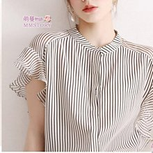 荷葉條紋短袖雪紡衫 萌蔓物語【KX3550】韓氣質女上衣