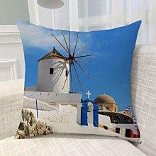《獨家預購》歐洲風景抱枕定制 聖托里尼島超柔舒適抱枕靠墊 來圖客製化家用聖托里尼島 可來圖訂做 生日禮物bz1816