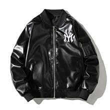 RECONIN品質男裝 韓國mlb bala潮牌pu皮衣ny字母刺繡外套男2020冬棒球服飛行員夾克