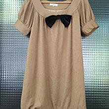 台灣設計師品牌 Stephane Dou 竇騰璜土黃色蝴蝶結毛料短袖洋裝