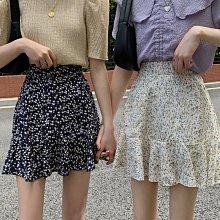 顯身材涼爽透氣裙子 鬆緊腰荷葉邊高腰碎花短裙 艾爾莎【TAE8816】