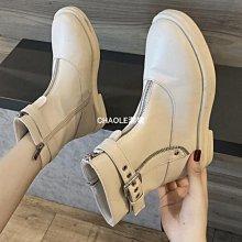 馬丁靴女靴秋季新款高幫潮鞋平底帥氣馬丁靴女英倫風網紅瘦瘦靴-店長-ZHENLE百貨