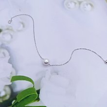 【D-W 鑽石世界】18K|Akoya日本珍珠|純真單顆珍珠手鍊