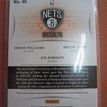 網拍讀賣~Joe Johnson /  Deron Williams/Brook Lopez~籃網隊球星~限量三人球衣卡