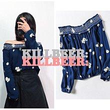 KillBeer:身為名媛的自傲之 優雅柔軟舒適印花一字領T恤022015