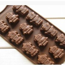 矽膠軟模具  情人節DIY巧克力模具/模板/模版 12連布丁/手工皂 冰塊 可愛機器人模具