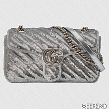 【WEEKEND】 GUCCI GG Small Marmont Sequin 亮片 小款 肩背包 銀色 443497