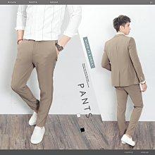 。SW。【K32137】正韓KE韓國製 修身顯瘦 質感琥珀扣 彈性萊卡西裝布 窄版雅痞  素面西裝褲下標區 英倫GD