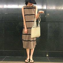 Maisobo 韓國KOREA 自留復古撞色條紋針織無袖洋裝 Ru-54 預購