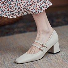 Fashion*超舒適裡外全真皮奶奶鞋 軟牛皮工作鞋 粗跟中跟鞋 四季單鞋/跟高5.5CM 33-43碼 米白 杏色