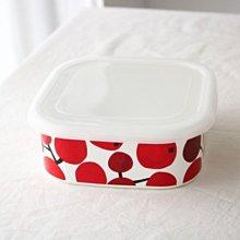 鄉村雜貨小市集*zakka 日雜款紅果實方型琺瑯保鮮盒 焗烤盤 食物儲存盒(大)