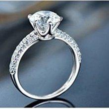 高仿鑽戒1克拉 相似度92%更璀璨求婚 結婚高仿真鑽石首飾 歐美豪華高檔微鑲純銀戒指   FOREVER鑽寶