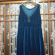 土耳其藍 天鵝絨 無袖 洋裝 晚禮服 日本製 M