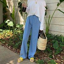 宅女單寧闊腿高腰夏季淺色直筒寬鬆牛仔褲