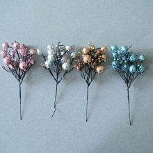 阿里家 北歐藍色粉色銀色古銅色閃亮球串INS風圣誕插枝圣誕樹配件裝飾品