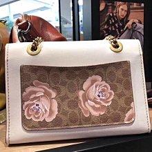 (Outlet特惠)COACH 31697 新款女士Parker系列山茶花珠片刺繡鏈條包 單肩斜挎包 附購買證明