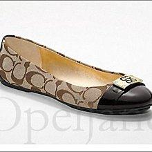 Coach Shoes 精緻卡其織布金屬LOGO舒適上班族包鞋娃娃鞋平底鞋芭蕾舞鞋 9.5號 26.5號 免運費