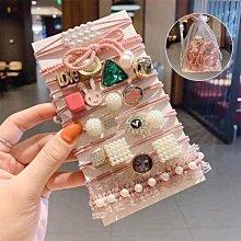 限量特價~韓國東大門氣質可愛IG INS髮圈頭飾-11件1組 超值組合 蕾絲 寶石 珍珠 女孩 女娃 公主