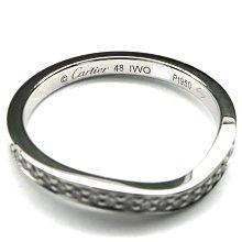 [K&K 0利率 48號] Cartier BALLERINE 弧形 鉑金 鑽石 線戒 婚戒