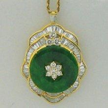 順利當舖  緬甸產A貨天然綠翡翠豪華氣派鑽石墜子