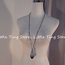 Little Ting Store: 埃及豔后立體錐形切割藍寶石色鑽簍空古銅灰白鑽墜飾長項鍊串鏈珠頸鍊