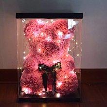 40公分粉色玫瑰花熊+許願燈玫瑰熊 宅配送展示盒