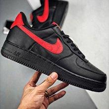 Nike Air Force 1 Low 黑紅 浮鵰 皮革 厚底 低幫 休閒滑板鞋 男女鞋 AJ1690-001