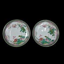 《博古珍藏》清雍正.琺瑯彩蓮花紋盤一對.宮廷珍藏.老件文物瓷器.國際拍賣級.底價回饋