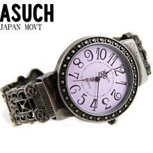 【JAYMIMI傑米】VASUCH 精緻刻紋羅馬復刻造型手環錶 民族 波西迷雅復古風 圓形 五色 紫色