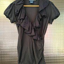 美國品牌 Ralph Lauren 深藍色波浪大v領短袖上衣