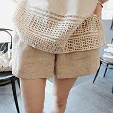 棉麻 火爆熱賣款寬褲 極簡顯瘦打摺修身棉麻短褲 艾爾莎【TAE6663】