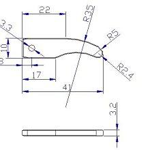 沖壓製造加工 3.2mm厚 S45C 中碳鋼片 41*10mm