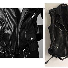 (Reserved)義大利真品黑色機車騎式款皮革背心 外套biker leather jacket