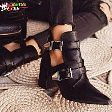 Smile 英倫時裝風爆款縷空雙排皮帶搭扣馬丁靴 粗跟高跟尖頭鞋 裸靴-另售大尺碼 35~42碼 Sh1293