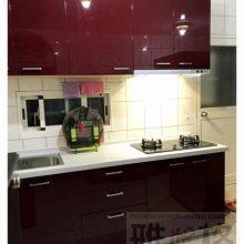 【雅格歐化櫥櫃】工廠直營~一字型廚櫃、流理台、廚具、結晶門板、櫻花二機、樂天人造石、更換檯面、更換門板