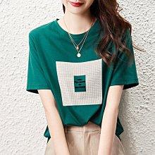 墨綠色短袖t恤女2021夏季年新款半袖寬松設計感打底衫內搭棉體恤